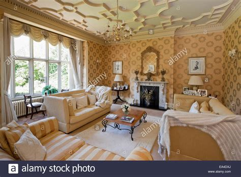 the living room nottingham living room with plasterwork ceiling in hargreaves house stock photo royalty free image