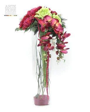 composizione di fiori finti in vasi di vetro composizione floreale fiori artificiali in tessuto