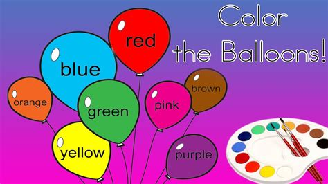 four color color the balloons coloring for children learn color the