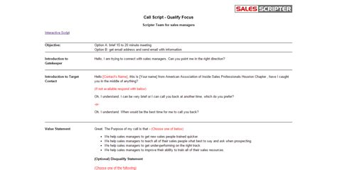 how to structure a sales call template salesscripter