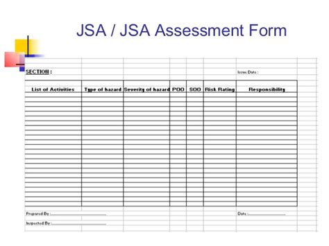ohs risk assessment template ohs management system