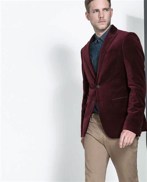 Blazer Zara Maroon zara velvet blazer in purple for maroon lyst