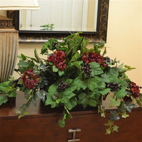 home decor floral silk ledge plant with hydrangea berries ivy gr180