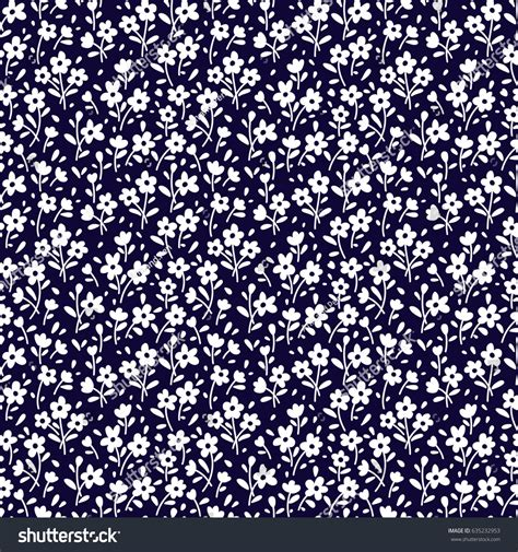 flower print fabric navy blue background blue white pink seamless floral pattern design small white stock vector