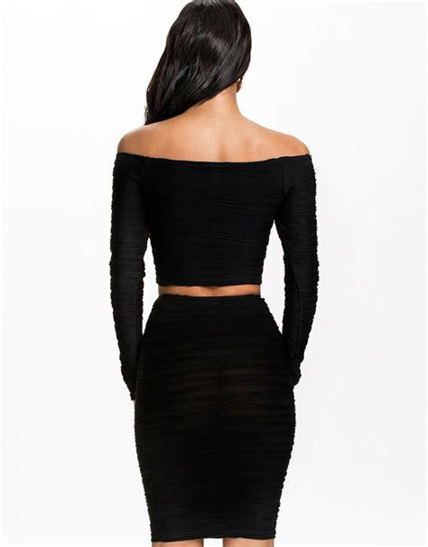 two pieces black crop top midi skirt wonder
