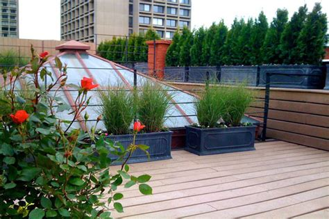 nyc roof garden terrace deck composite fence privacy screen sunroof contemporary deck