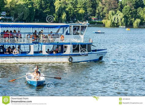 fairy boat ride ferry boat ride on herastrau lake editorial stock photo