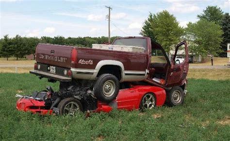 corvette truck truck lands on a c5 corvette in rural indiana crash