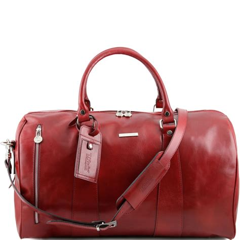 travel leather duffle bag large size