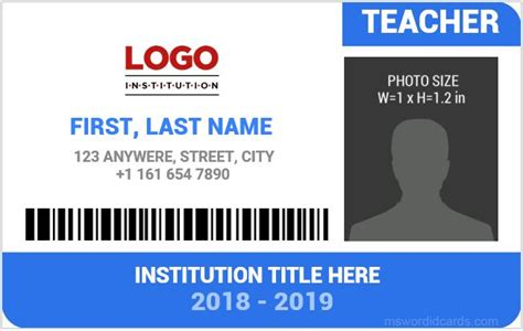 id card design in word format teachers template id card all free templates to download