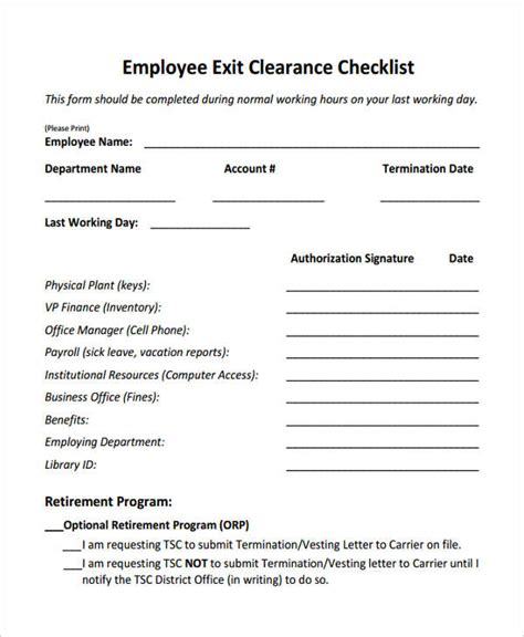 employee exit form exit clearance form 6 free documents in word pdf
