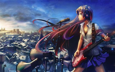Anime Girl Playing Guitar Wallpaper | widescreen guitar anime girl wallpaper 12 anime