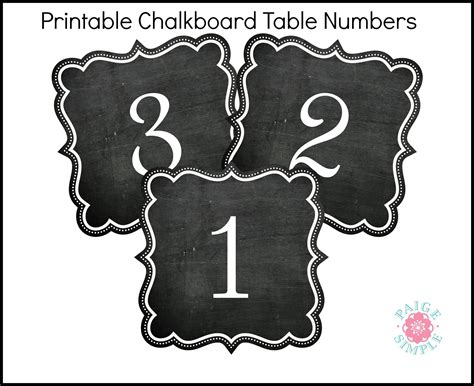 Free Printable Table Number Cards Template by Printable Chalkboard Table Numbers Rustic Wedding Chic