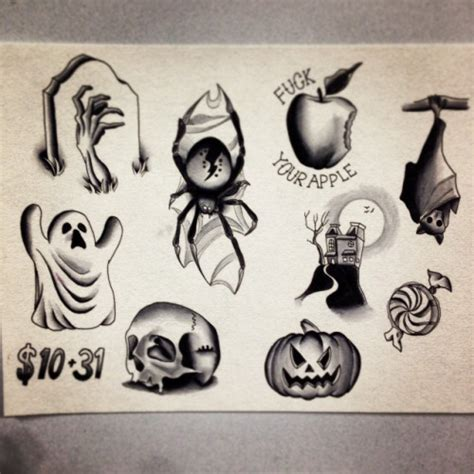 24 traditional halloween tattoo designs and images