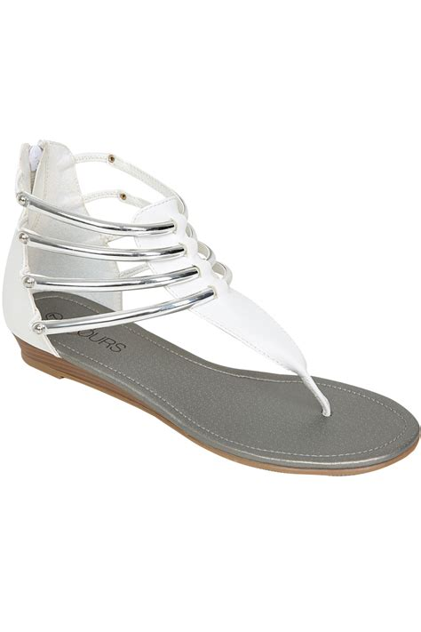 silver low wedge sandals white silver bar trim gladiator low wedge sandals in eee