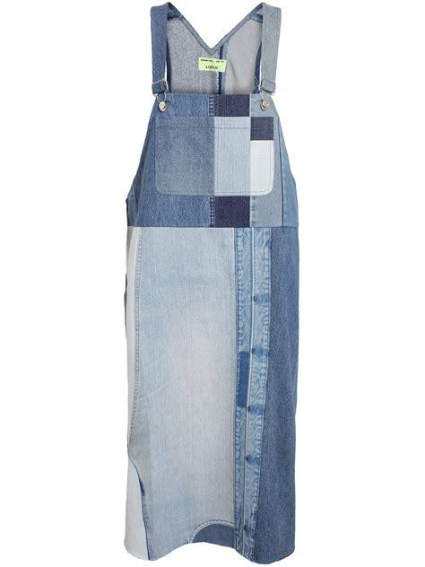 Denim Patchwork - lyst ashish oversized patchwork denim dress in blue
