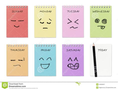 Faced Calendar by Weekly Calendar With Drawing Stock Illustration
