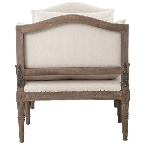 bench daybed sabine french country natural linen weathered oak bench