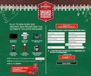 Tailgate Traditions Sweepstakes - ccctailgatetraditionscode com sweepstakes directory