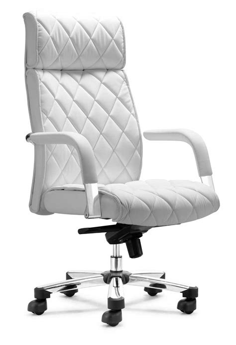 High Back White Leather Executive Swivel Office Chair With White Office Desk Chair