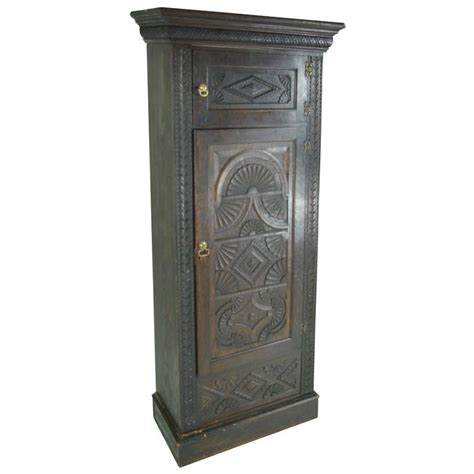 single armoire wardrobe b391 heavily carved victorian oak single door armoire