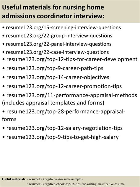 Admissions Coordinator Resume by Top 8 Nursing Home Admissions Coordinator Resume Sles