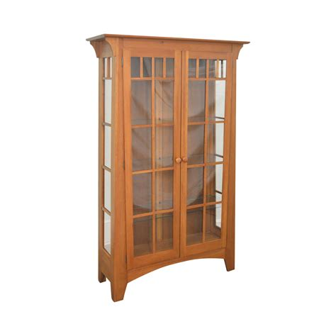 mission style curio ethan allen american impressions solid cherry mission