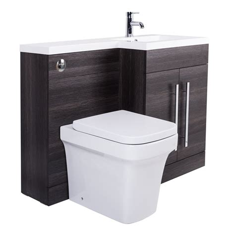 Bathroom Combination Vanity Units Grey Rh Combination Bathroom Furniture Vanity Unit Basin Back To Wall Toilet 5055653270855