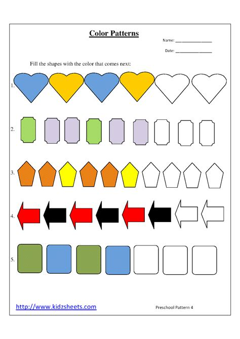 color pattern worksheets for kindergarten kidz worksheets preschool color patterns worksheet4