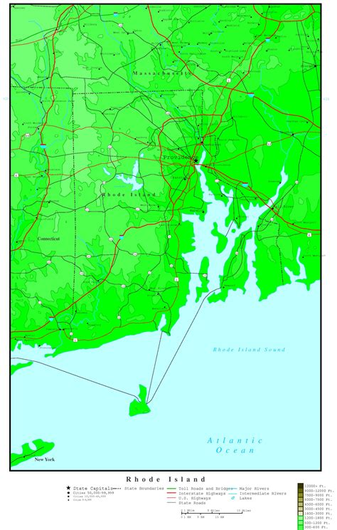 uri map rhode island elevation map