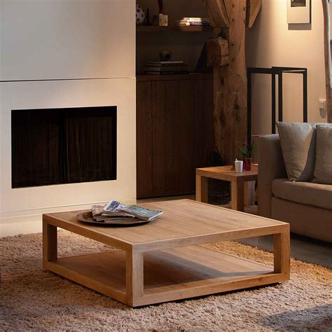 custom diy low square wood oak coffee table with tray and bookshelf or magazine storage on brown