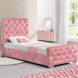 Princess Single Bed Frame Pink Crushed Velvet Fabric Princess Single Size Bed