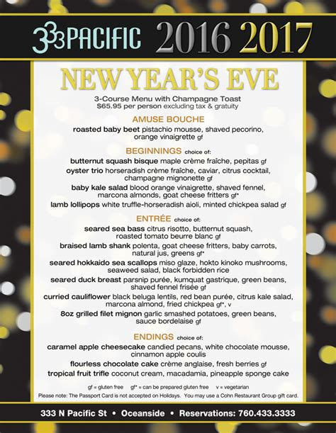 new year restaurant menu 333 pacific s new year s cohn restaurant