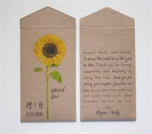 Sunflower Seeds Wedding Favors by Sunflower Seed Packet Wedding Favor Envelopes Personalized