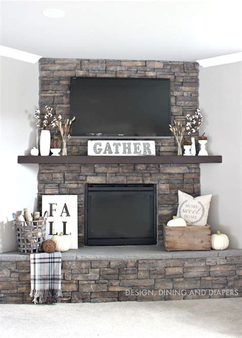 stone fireplace decor 15 fall decor ideas for your fireplace mantle