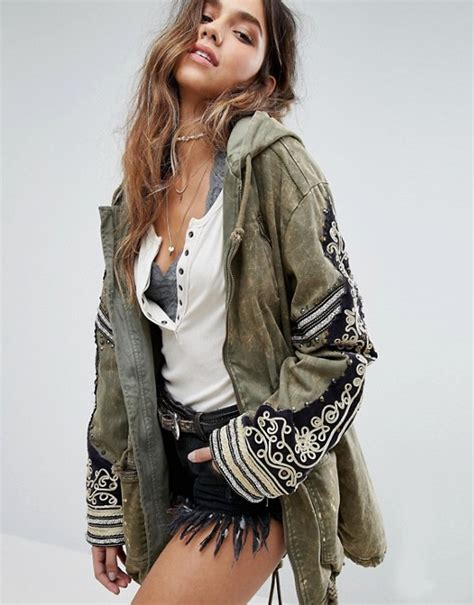 Free Search With Relatives Free Free Embellished Parka Jacket