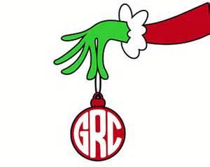 grinch monogram christmas svg dxf vector files cricut silhouette vinyl cutters