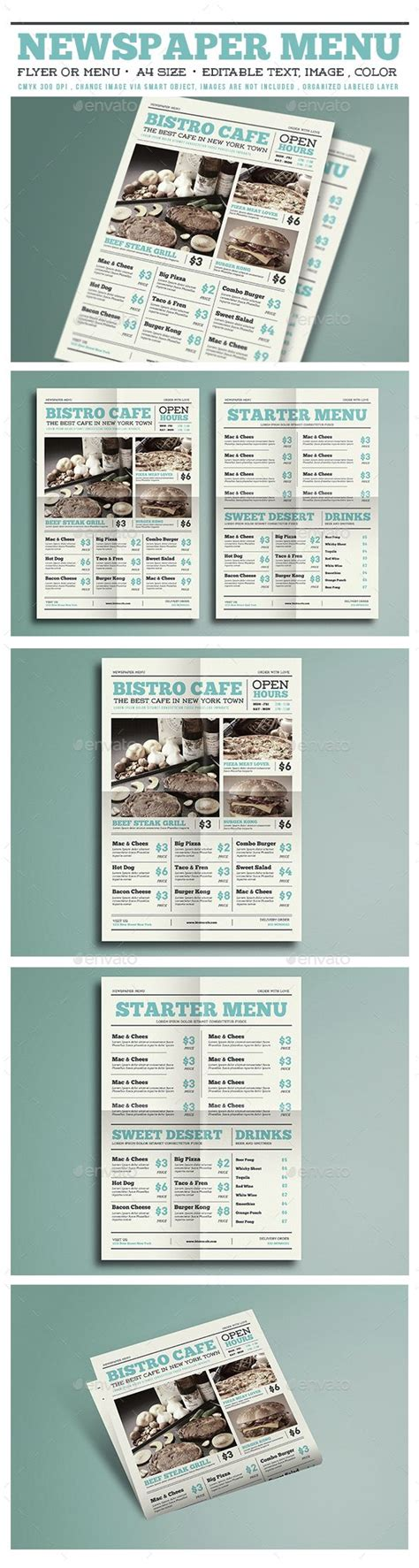 Newspaper Menu Flyer Psd Template Only Available Here Http Graphicriver Net Item Newspaper Newspaper Style Menu Template