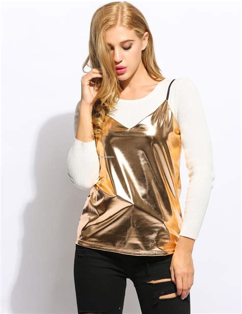 Blouse Fashion Import Jy776081 spaghetti v neck look clubwear ves