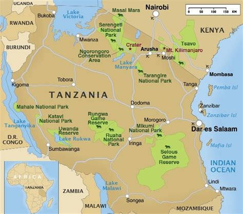 map of tanzania tanzania safari dahlia tours