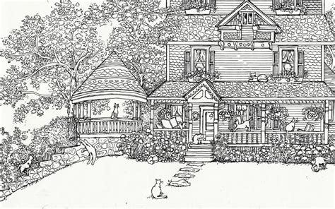 printable coloring pages for adults houses adult coloring page house of cats instant