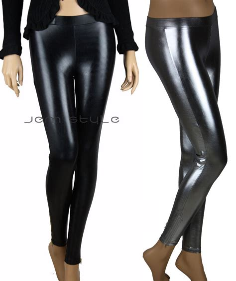 Glossy Legging faux leather shiny glossy look zipper tight