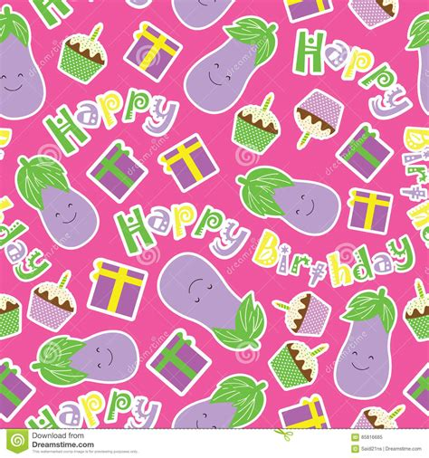 pattern birthday cute birthday seamless pattern with cute eggplants birthday