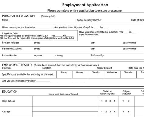 template for employment application application template with availability employment
