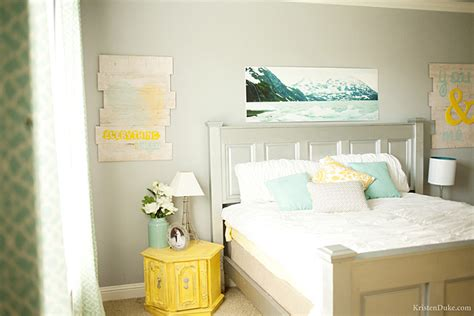 turquoise and yellow bedroom master bedroom makeover