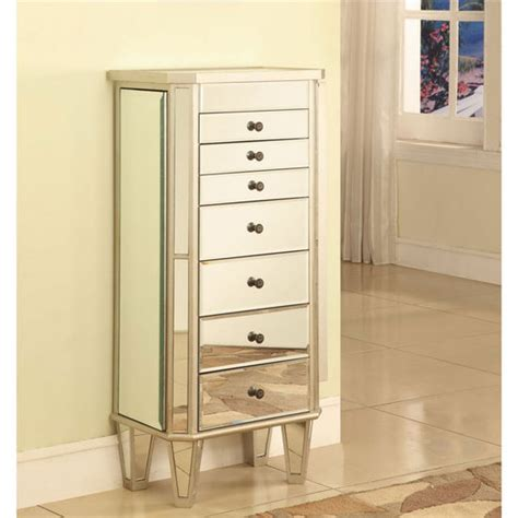 Wooden Mirror Jewelry Armoire by Powell Mirrored Jewelry Armoire With Silver Wood