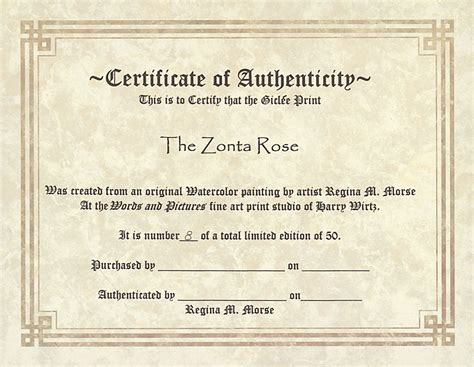 authenticity certificate template free printable certificate of authenticity templates