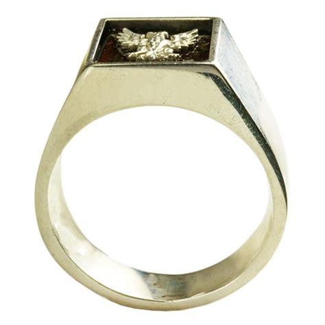 center eagle silver signet ring