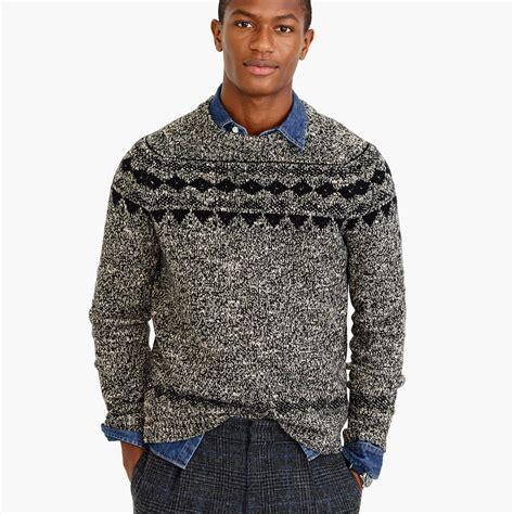 Sweater Italia j crew italian wool fair isle sweater in black for lyst