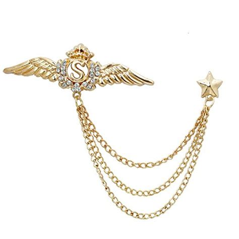 Chain Collar Brooch wing lapel pin suit shirt corsage collar chain